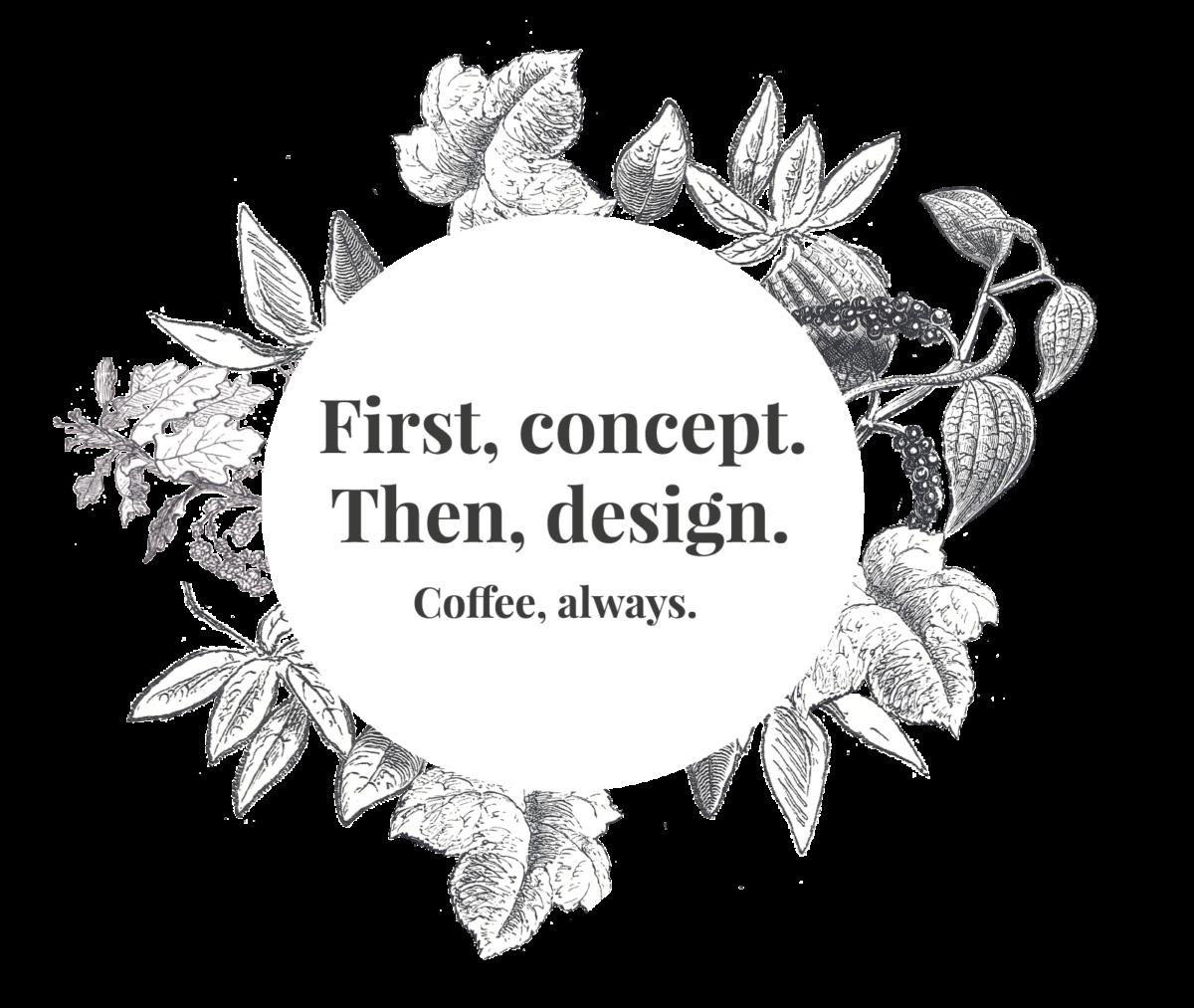 Först koncept. Sen Design. Alltid kaffe.